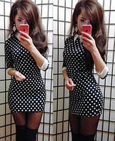 Стильное платьице горошек с манжетами