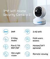 Reolink E1, камера видеонаблюдения, поворотная, Super HD 2304x1296 3Mp, WiFi, IP камера, microsd