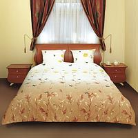 """Дешевый и модный комплект постельного белья """"Маки коричневые"""" Premium бязь."""