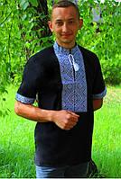 Мужская черная вышиванка с коротким рукавом , размер 44-56