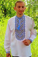 Гарна чоловіча сорочка вишиванка з синім орнаментом , розмір 44-56