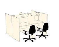 Столы с перегородками для call-центров с полкой