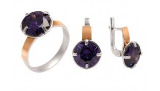 Серебряный комплект с фиолетовым камнем и позолотой Мирабель 566