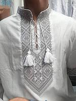 Вишиванка чоловіча біла з коротким рукавом і сірої вишивкою, Льон