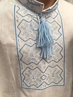 Вышиванка мужская белая с коротким рукавом и голубой вышивкой, Лен
