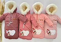Детский зимний комбинезон трансформер для новорожденного 3в1 от 0 до двух лет (на овчине)