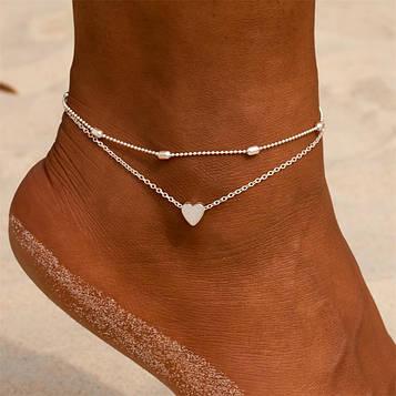 Жіночий сріблястий браслет на ногу код 1670