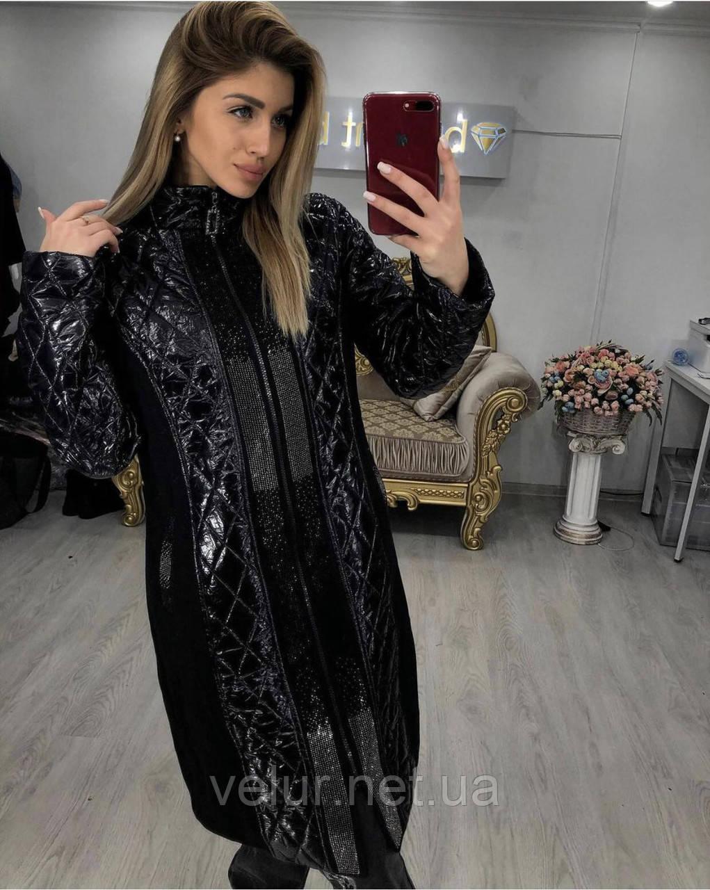 Женское стильное пальто турецкого про-ва, Размеры:46,48,50,52 евро, цвет черный.