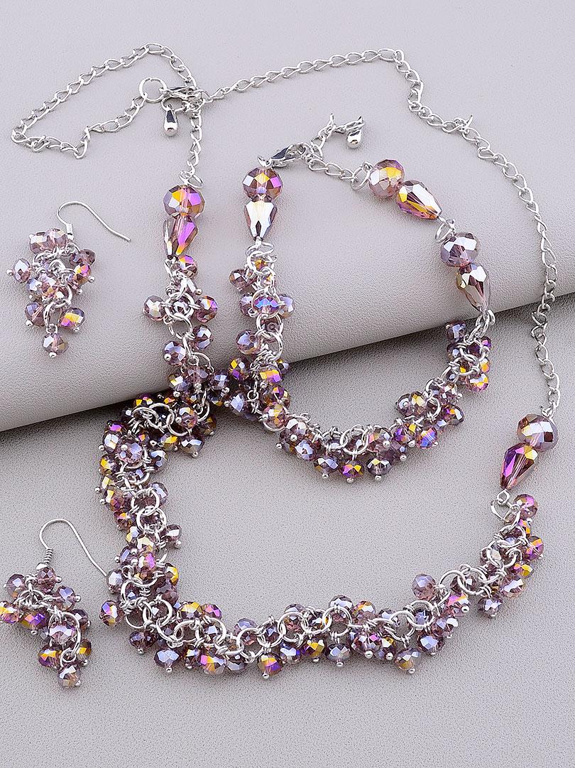 Комплект прикрас Чеський кришталь жіночий намисто, браслет і сережки код 2132