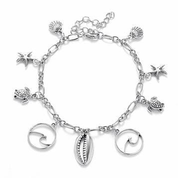 Жіночий сріблястий браслет на ногу код 2135