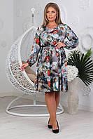 Стильне жіноче плаття з яскравим принтом, внизу спідниці волан для пишних жінок, фото 1