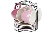Набор (4 шт) фарфоровых чашек 170мл с блюдцами на металлической подставке Лавандовое поле BonaDi 432-010