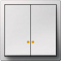 Выключатель двухклавишный Gira F100 Белый/Глянцевый белый