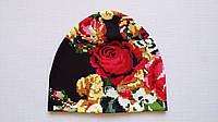 Демисезонная детская шапочка вышиванка черного цвета