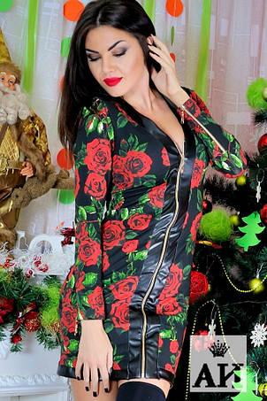 Платье на змейке с розами , фото 2