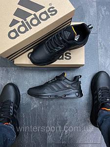 Чоловічі демісезонні кросівки Adidas Feather Leather All Black/Orange
