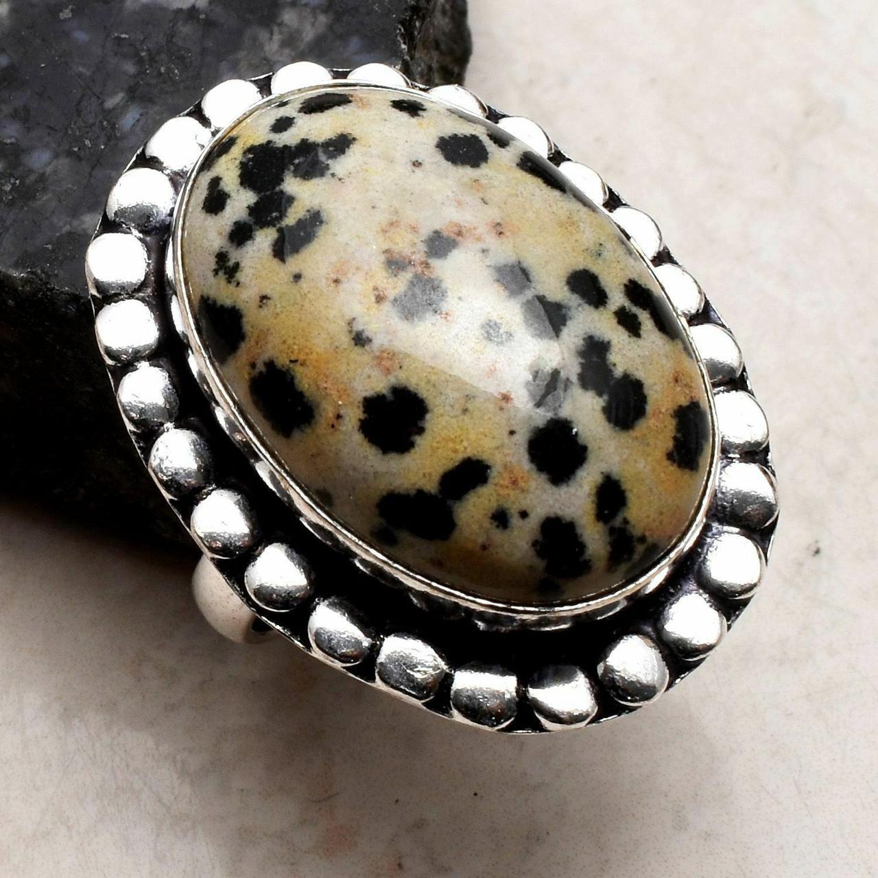 Кольцо с Далматиновой Яшмой