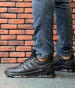 Кросівки шкіряні чоловічі Adidas Feather Leather All Black