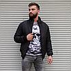 Мужская утепленная куртка бомбер чёрная, фото 3