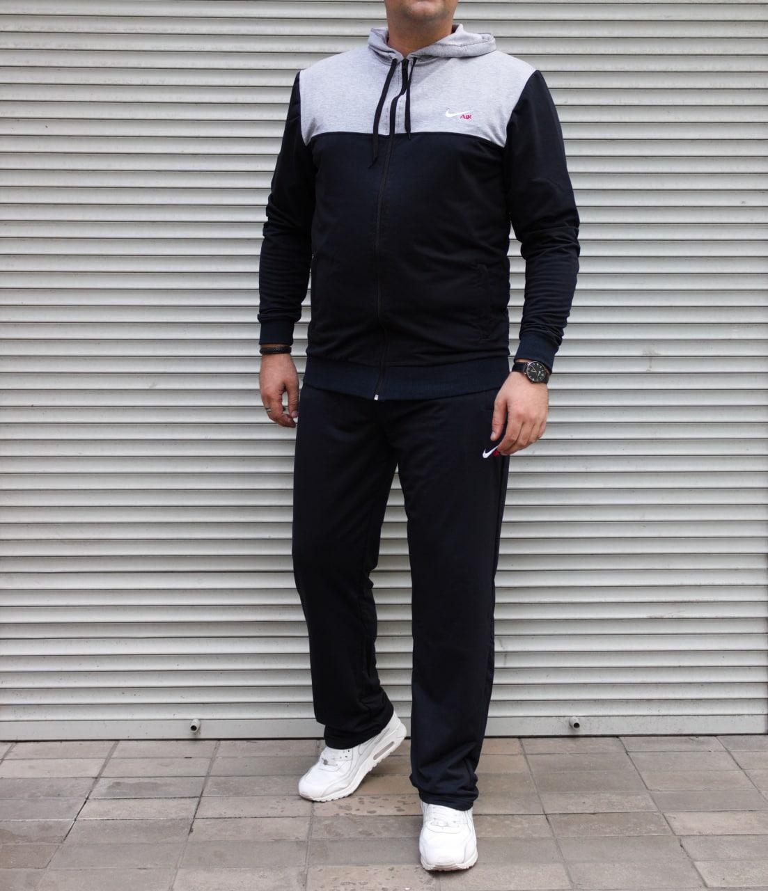 Мужской спортивный костюм Nike Air большого размера | БАТАЛ | трикотаж двухнить | прямые штаны