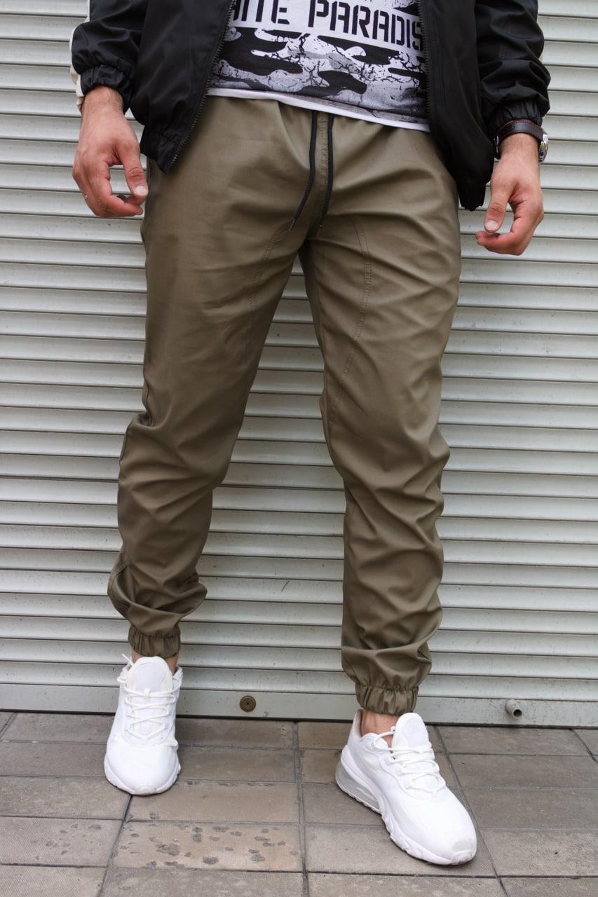 Мужские штаны джоггеры цвета хаки , хлопок