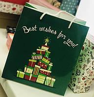 Подарунковий пакет Новорічні Ялинки 24х21 см