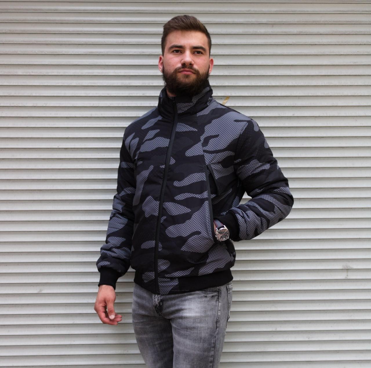 Чоловіча куртка утеплена бомбер камуфляж