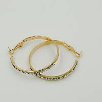 Серьги - кольца женские с родиевым покрытием и камнем циркония 0440