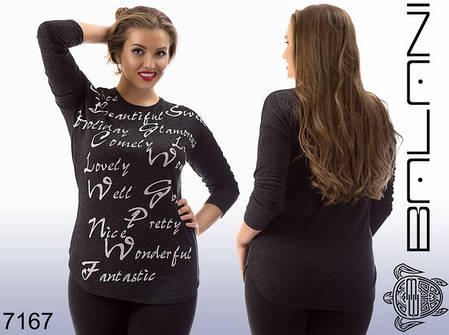 Туника женская с надписями больших размеров, фото 2