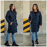 Женская деми Куртка-Пальто на синтепоне Батал Желтая, Черная, Синяя, Пудра, фото 2