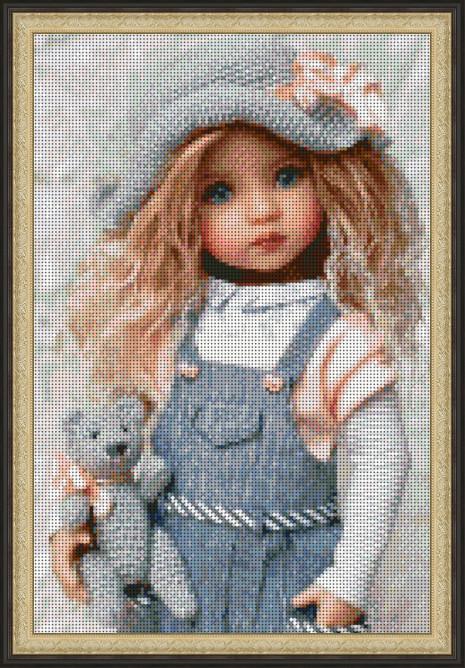 Вышивка бисером, Канва Дети полная зашивка красивая вышивка Куколка с мишкой