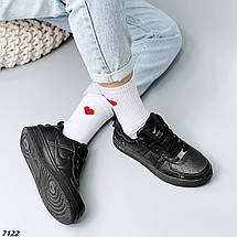 Кроссовки женские черные кожаные осень весна, фото 3