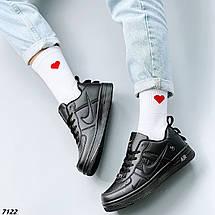 Кроссовки женские черные кожаные осень весна, фото 2