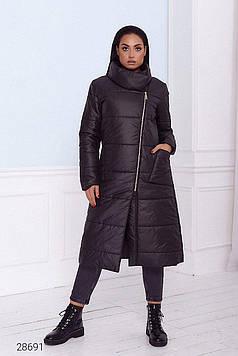 Пальто женское дутое стёганное с воротом-стойкой