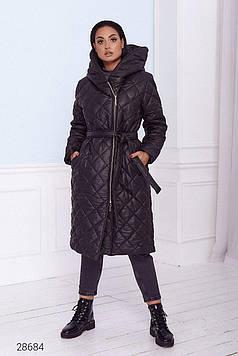 Пальто женское стеганое с объёмным капюшоном черное Мода плюс