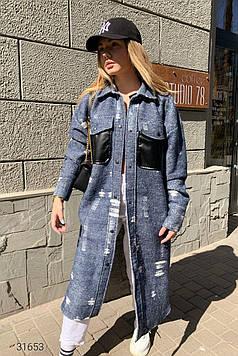 Женское пальто-рубашка с накладными карманами синее