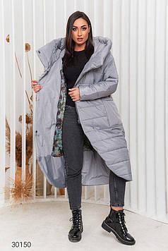 Пальто женское стёганное с капюшоном серое Мода плюс