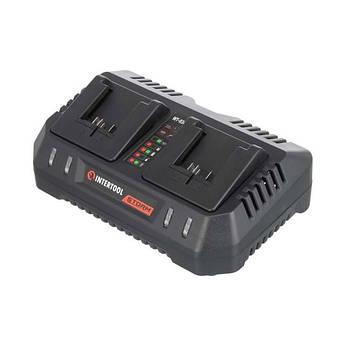 Устройство зарядное для аккумуляторов литий-ион 20 В, ток заряда 4.0+4.0 А, два теминала зарядки INTERTOOL