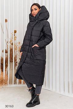 Пальто женское стёганное с капюшоном черное Мода плюс