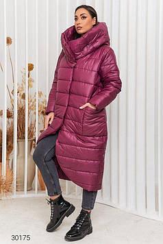 Пальто женское стёганное с капюшоном малиновое Мода плюс