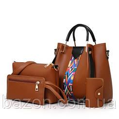 Набор сумок из экокожи MAVKA, цвет коричневый