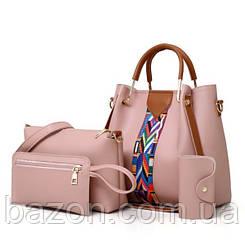 Набор сумок из экокожи MAVKA, цвет розовый