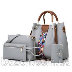 Набор сумок из экокожи MAVKA, цвет серый