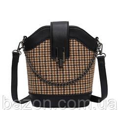 Женская сумка из твида с отделкой из экокожи MAVKA, цвет черный