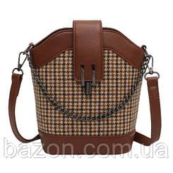 Женская сумка из твида с отделкой из экокожи MAVKA, цвет коричневый
