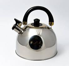 Чайник Maestro черная ручка 3,5л нержавейка, Чайник с крышкой и ручкой, Чайник со свистком из нержавейки
