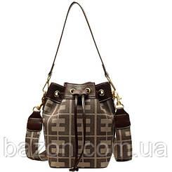 Женская сумка в виде торбы небольшого размера MAVKA, цвет коричневый