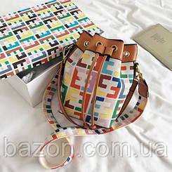 Женская сумка в виде торбы небольшого размера MAVKA, цвет мультицвет
