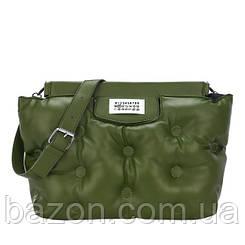 Крупная мягкая сумка шоппер из экокожи MAVKA, цвет зеленый