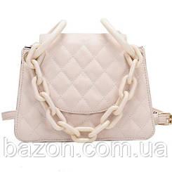 Мягкая женская сумка из стеганной экокожи MAVKA, цвет белый